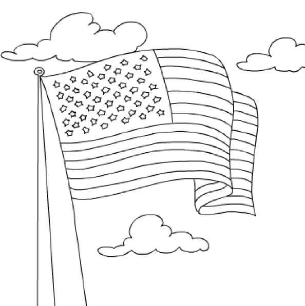 Us Flag Coloring Page Flag Color Page